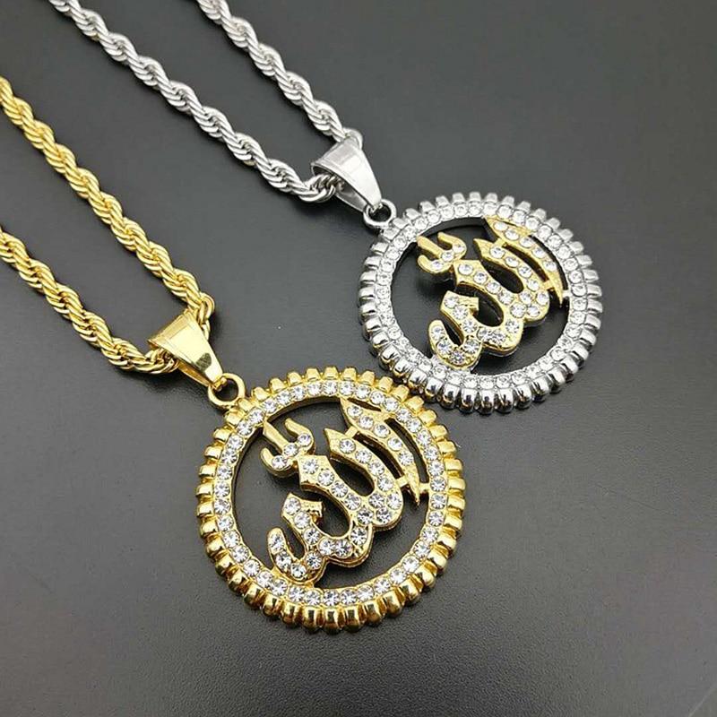 44947e12bffc Cheap Nuevo diseño diamantes de imitación pavimentados oro plata Acero  inoxidable Islam musulmán Alá colgante redondo