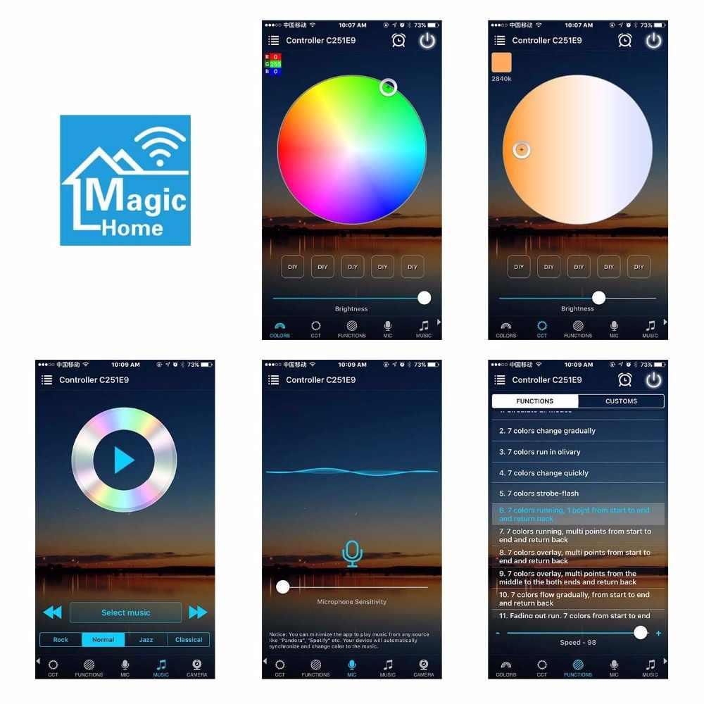 Magia WiFi w domu, bezprzewodowy dostęp do internetu kontroler taśmy inteligentna aplikacja Amazon Alexa Google pikseli LED pilot zdalnego sterowania dla 5050 RGB RGBW WS2812 WS2811