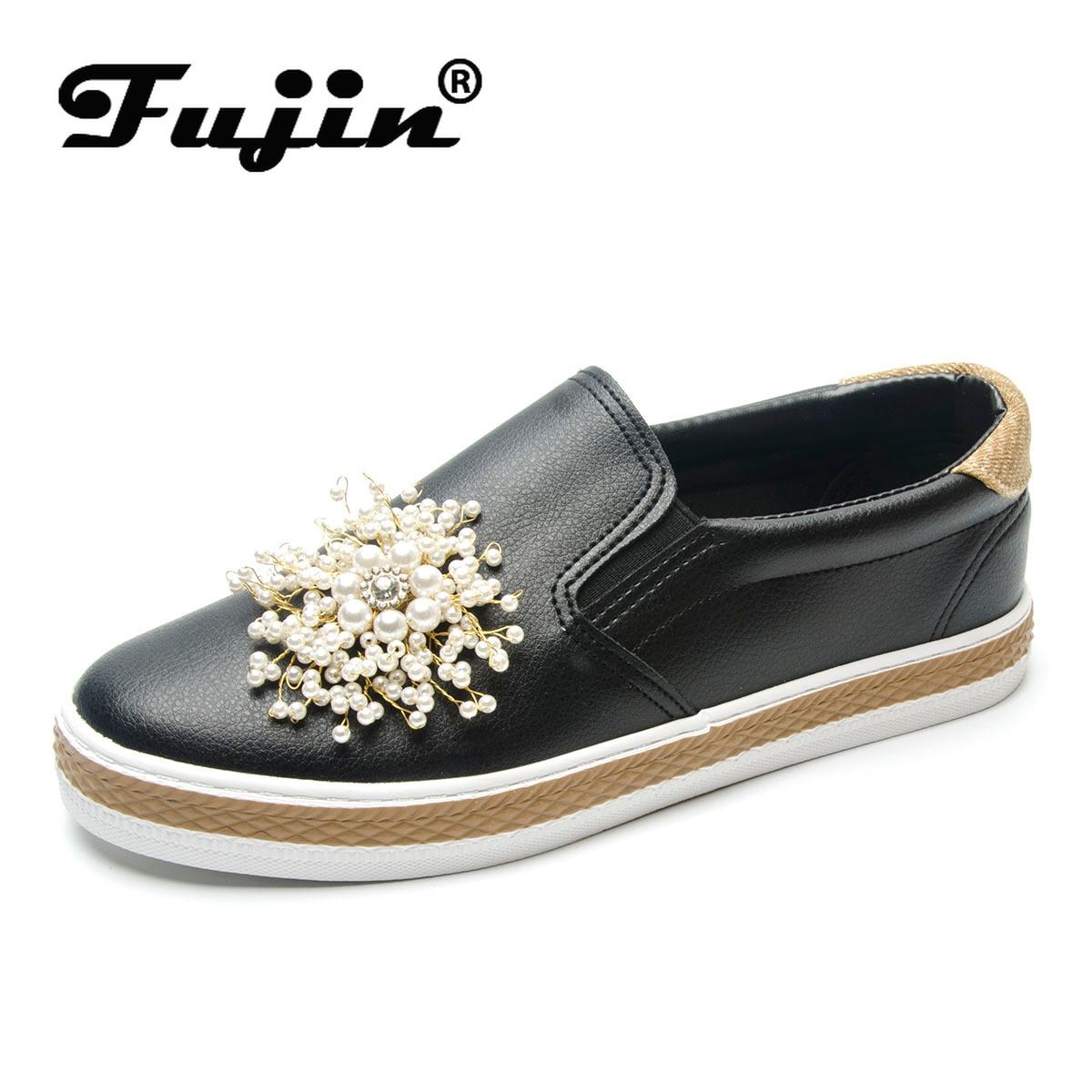 Fujin Luxury Shoes Women Designers  Dropshipping Flat Platform Korean Loafers Black Pearl flats