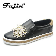 Fujin Luxury Shoes Women Designers  Dropshipping Flat Platform Korean Loafers Black Pearl flats