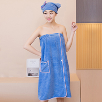 XC USHIO 1 Set Magic Soft Wearable Woman Bath Towel With Hair Towel Pocket Button Waist