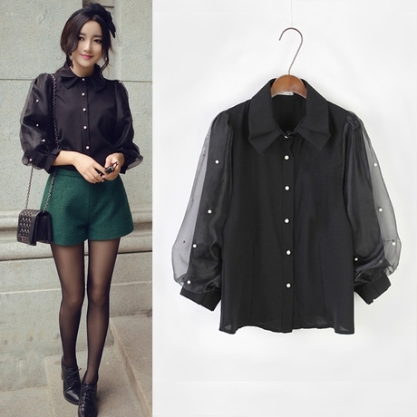 cb389fe439b65 Black Shirt Women 2018 Autumn Korean Peter Pan Collar Pearl Beading Sheer  Organza Patchwork Puff Sleeve Blouse Tops blusas T25-in Blouses   Shirts  from ...