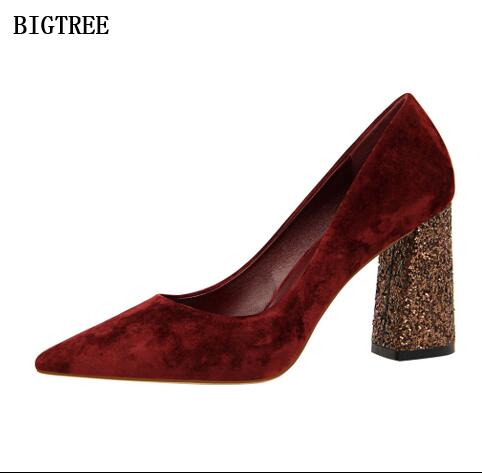 2018 New Pumps Women's Shoes Summer Square heel High-heeled 8.5 cm Sequins Fashion night club shoes Thin European&American sexy 2017the mostfashion trends european and american brands genuine flowers ladies luxury short shoes club sexy women s shoes