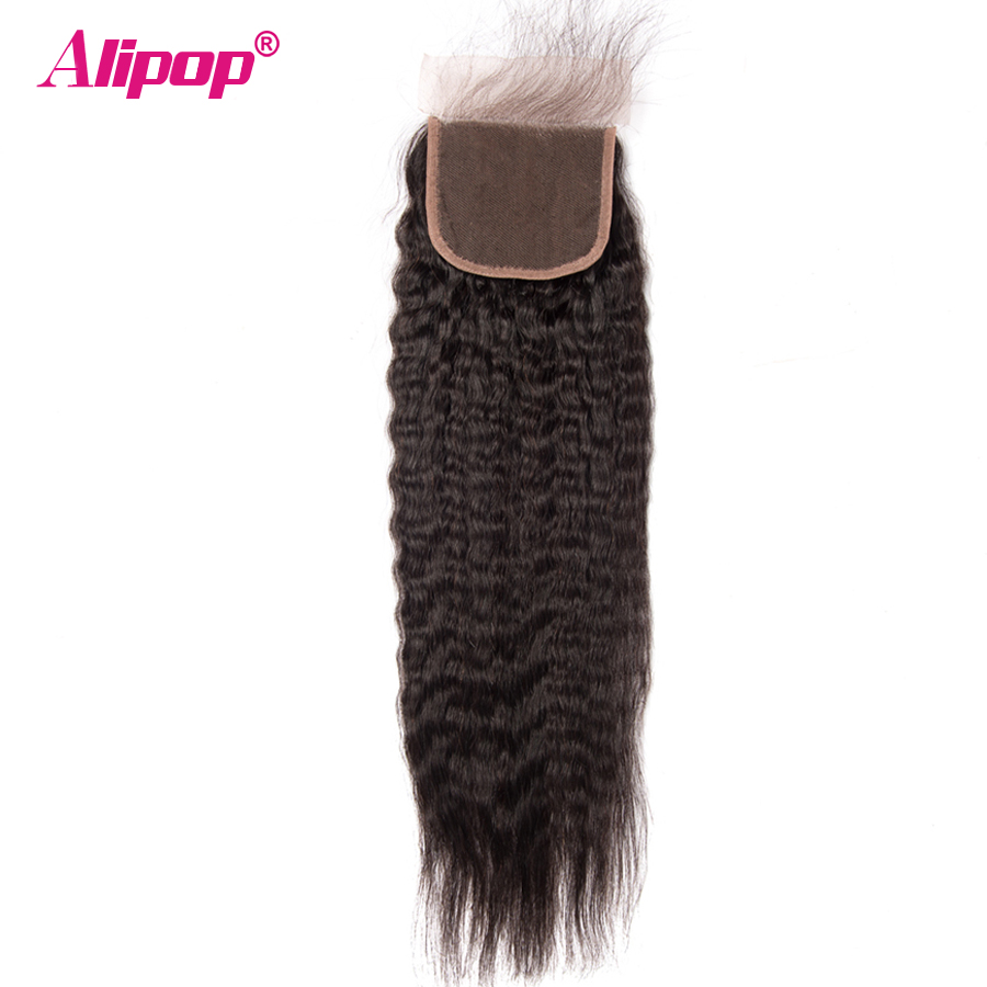 ALIPOP Peruvian Kinky Straight Lace Closure With Baby Hair Remy Hair Natural Color 1B 10-24 Swiss Lace 100% Human Hair Closure