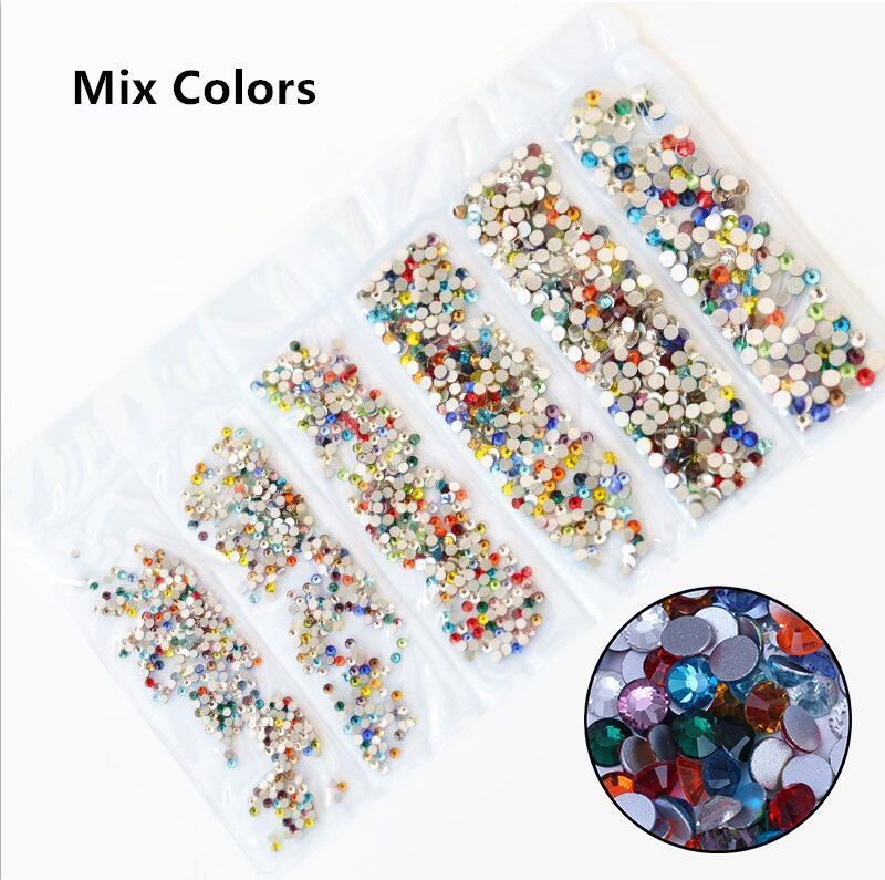 31 цвет, SS3-SS10, разные размеры, Хрустальные стеклянные стразы для дизайна ногтей, для 3D дизайна ногтей, стразы, украшения, драгоценные камни - Цвет: Mix Colors