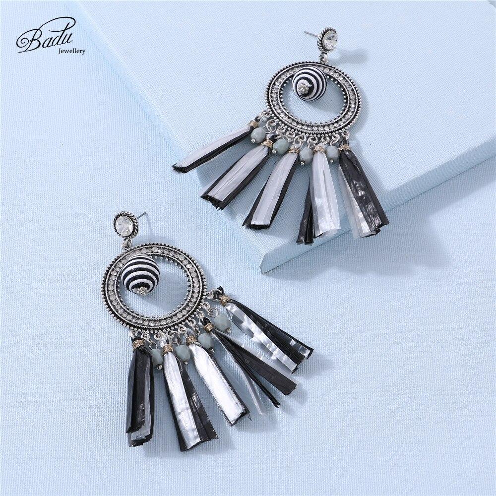 Badu Raffia Earring Women Statement Black White Earring Wax Ball Pendant Vintage Drop Earrings Party Jewelry Drop Shipping in Drop Earrings from Jewelry Accessories