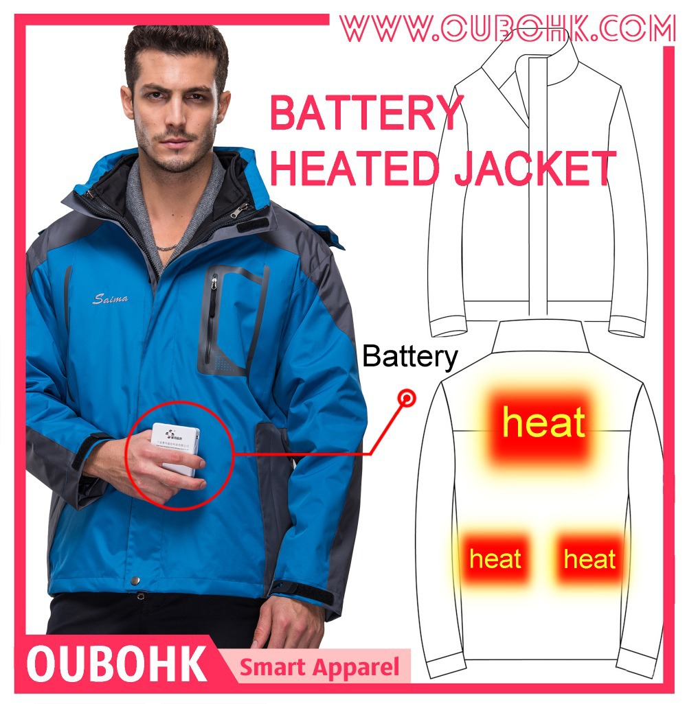 2abe7ee35 Electric Heated Men Jacket With 7.4V Battery Carbon Fiber Heating ...