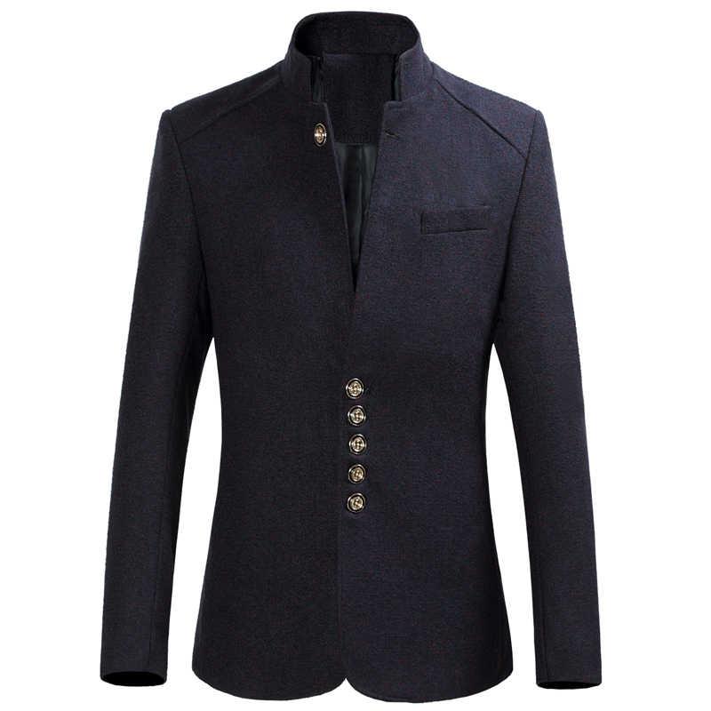 ブレザー男性 2020 秋の新スタイルのスタンドカラーのブレザースリムフィットメンズブレザージャケットプラスサイズ M-5XL 6XL 高品質