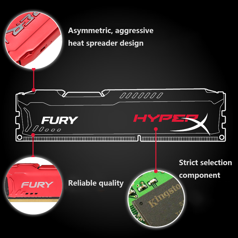 Original Kingston HyperX FURY 4GB 8GB 1866MHz DDR3 CL10 DIMM 1.5V Desktop Gamiing Memory RAM Red for PC Gamer DIV