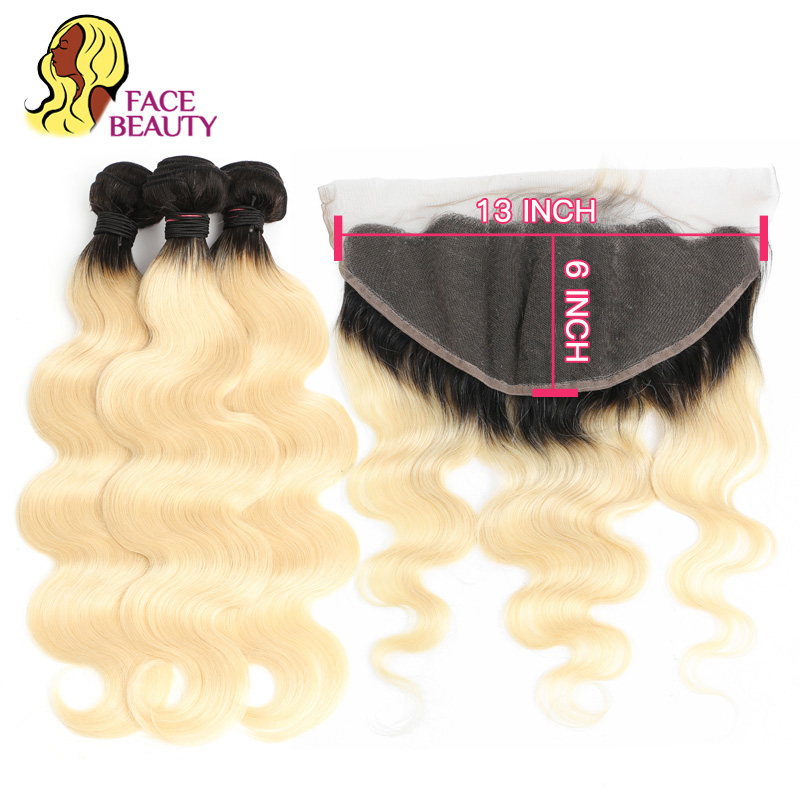 Facebeauty Remy Ombre Color 1B 613 Hair 2 3 4 Bundles with 13x6 Ear to Ear