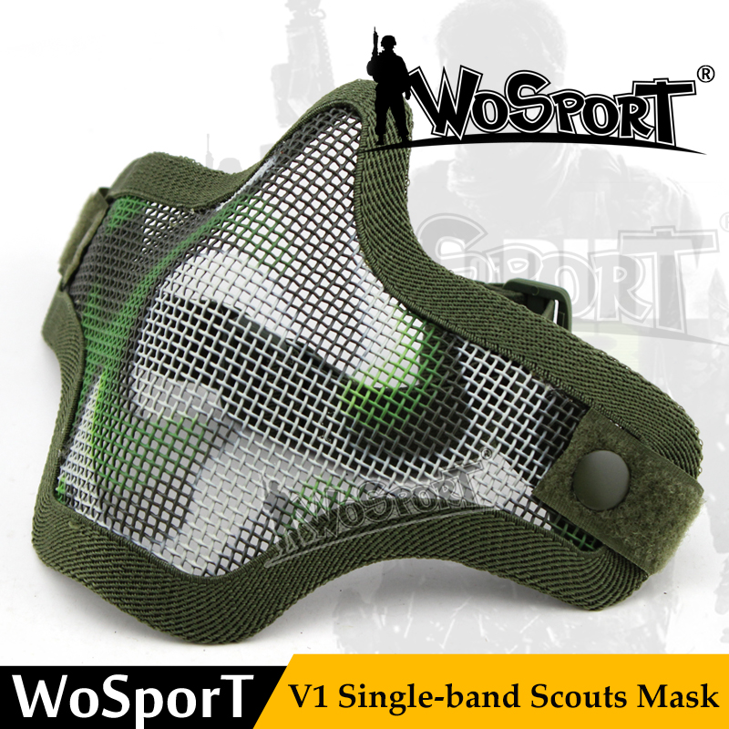 WoSporT V1 Scout Single Belt Skull Half Metal Steel Net Safty Tactical Mask For Military Cosplay Airsoft Paintball CS Feild Game