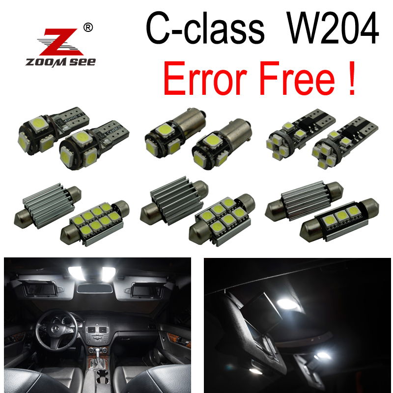 19pcs LED License plate Bulb + Interior map Lights Kit For Mercedes C class W204 Sedan C230 C250 C280 C300 C350 C63 AMG (08-14)