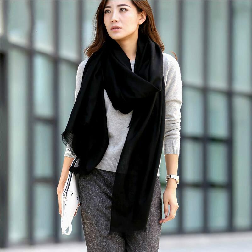 نام تجاری Solid Love 2017 پیراهن جدید پاییز و زمستانی کشمیر شال روسری شال روسری شلوار جین رنگ جامد Pashmina100٪