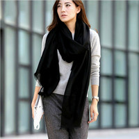 Solid Love Brand 2017 New Strap Autumn and Winter Cashmere Shawl Wool Scarf Shawl Solid Color Lady Scarves Pashmina100%