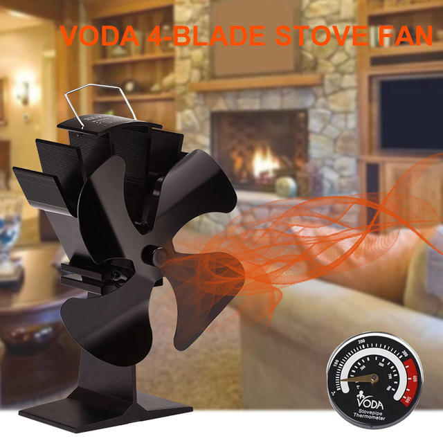 4 Blades Heat Powered Stove Fan With Thermometer Home Silent Fireplace Fan For Wood/Log Burner/Fireplace Efficient Eco Stove Fan