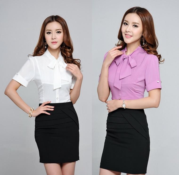Summer Short Sleeve Fashion Formal Shirts Business Women ...