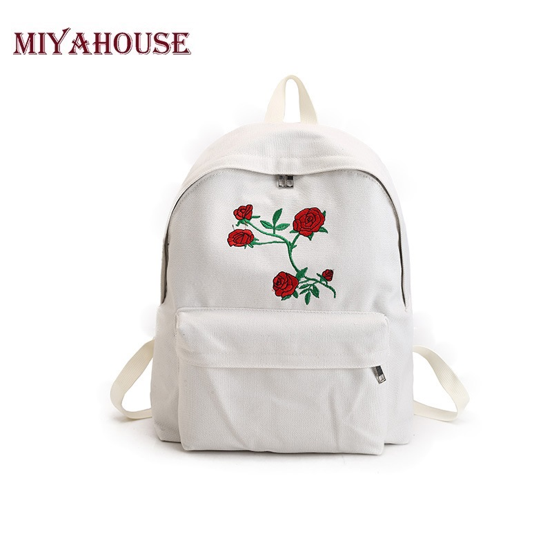 Miyahouse Rose Embroidery Backpack Women Black Travel Backpack Canvas Students Double Shoulder Bag School Bags For