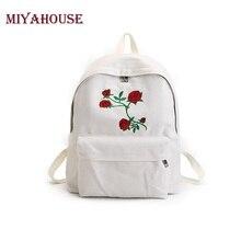 Miyahouse Роза Вышивка рюкзак женский, черный путешествия рюкзак холст студенты дважды сумка Школьные сумки для подростков