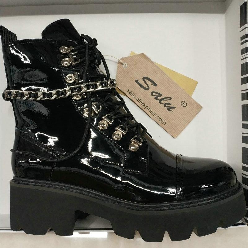 Trzewiki na śnieg kobieta 2019 nowych kobiet buty zimowe buty luksusowe czarne prawdziwa skóry klamra dekoracji marki mody w stylu w Buty do kostki od Buty na  Grupa 2