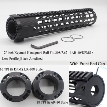 TirRock 12'' inch .308/7.62 LR-308 Keymod Handguard Rail Free Float Picatinny Mount System Ultralight Aluminum Black Anodized