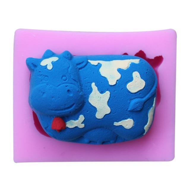 3d mucche forma di sapone diy stampo in silicone animale sveglio ...