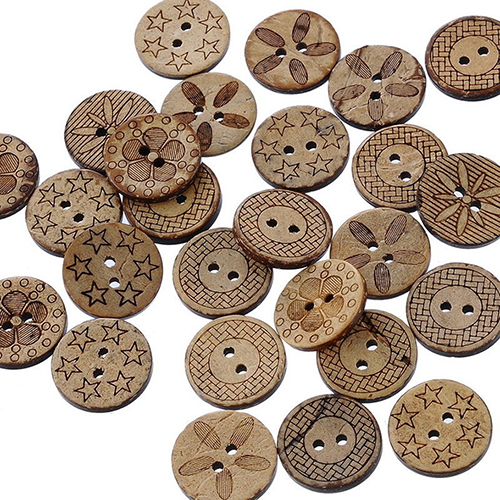 Coconut Shell Buttons Dark Brown Flower Floral Cut Out Four Holes 12mm 50pcs