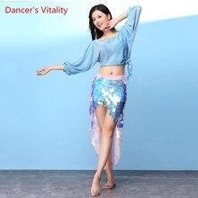 Kostium Bellydance gorąca sprzedaż kobieta taniec brzucha set Top i cekiny spódnica biodrówka wydajność ubrań spódnica