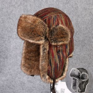 Image 2 - Chapeau bombardier en fourrure en lapin Rex, couvre neige, épaisse et chaude, en fourrure russe pour hommes, couvre oreilles, Ushanka, chaude, B 8433