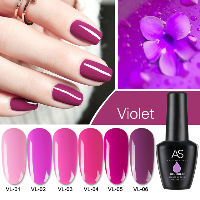 AS Purple Nail Polish Gel Vernish Nail Art Decoration Design Rose ...