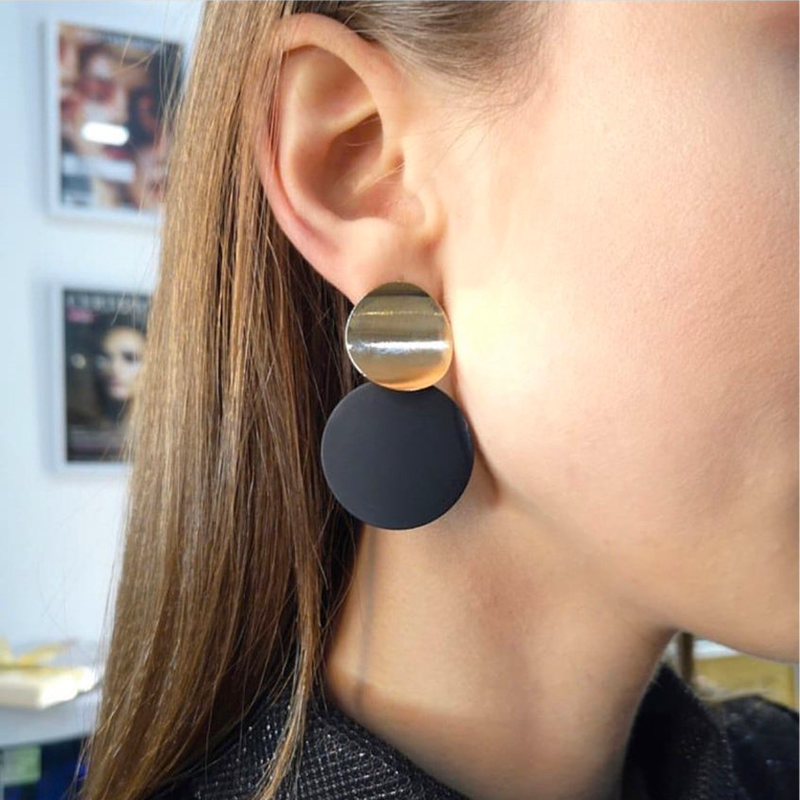 Earrings Gold Non-Pierced-Clip Statement-Ear-Clips Black Metal Women Fashion Round