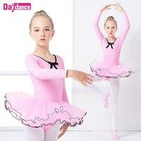 ורוד שרוול ארוך כותנה תלבושות ריקוד ילדה תינוק בגדי ריקוד ללבוש ריקוד בלט שמלת בלט לילדים