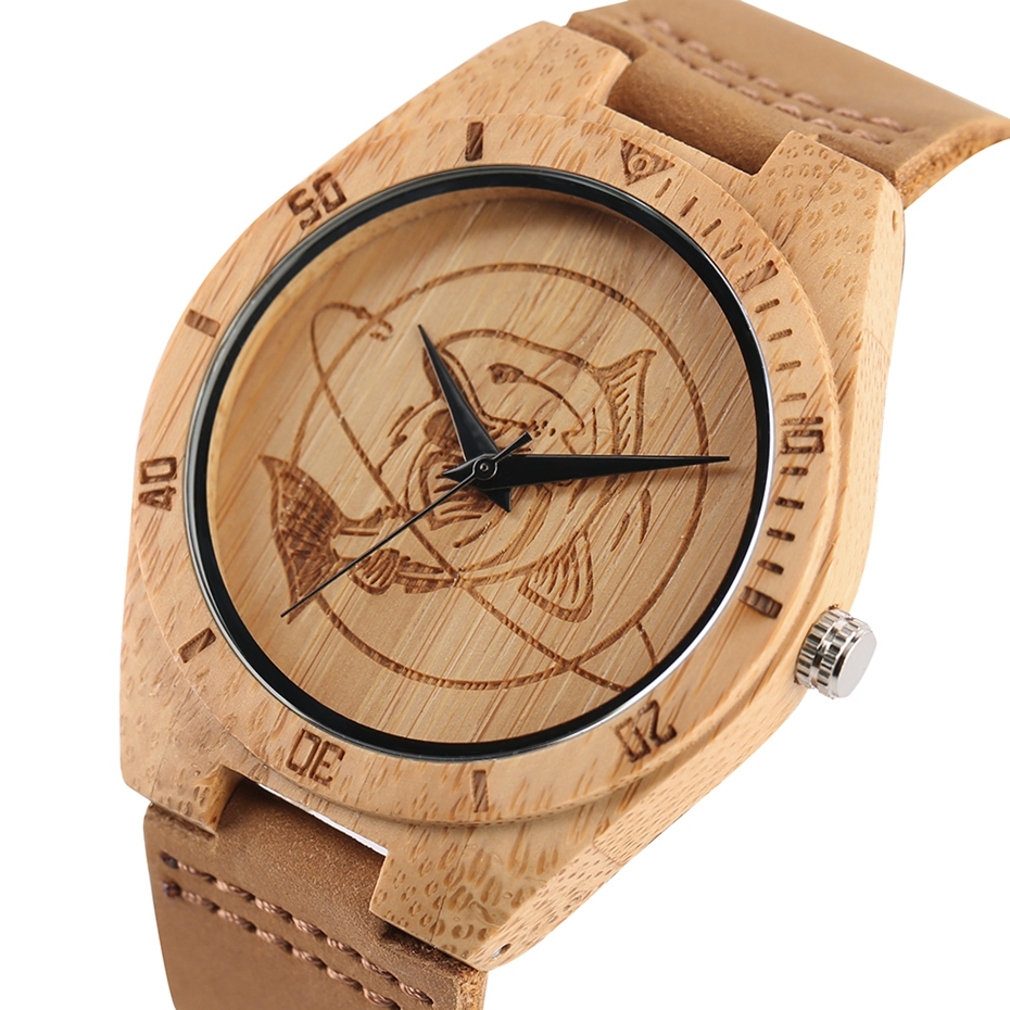 Natural Mens Wooden Wrist Watch Casual Dress Style Engraved Fish Handicraft Dial Light Bamboo Wood Relogio Gifts Genuine Leather 2017 (3)