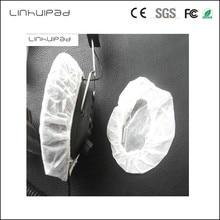 Linhuipad 12-13 cm Branco Não Tecido Descartável Sanitário Tampa do Fone De Ouvido fones de ouvido almofadas 100 pçs/lote