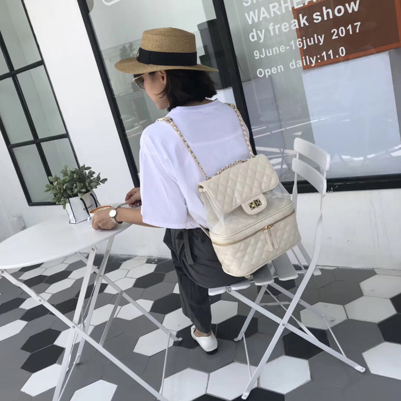 College new pattern backpac PVC+PU transparent backpack Trendy female stars with shoulder bag