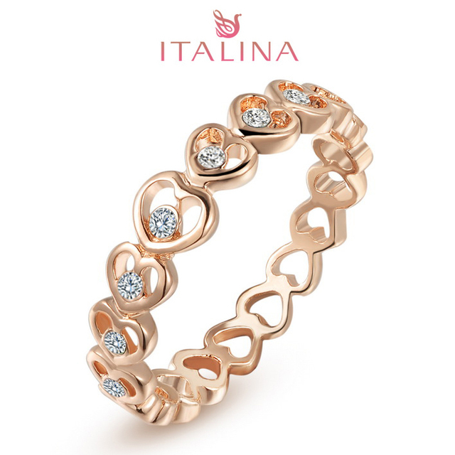 Italina Brand Love Forever Rose Gold Color Aneis Women's Crystal Heart Bijoux Jewelry Austrian AAA CZ Wedding Rings Wholesale