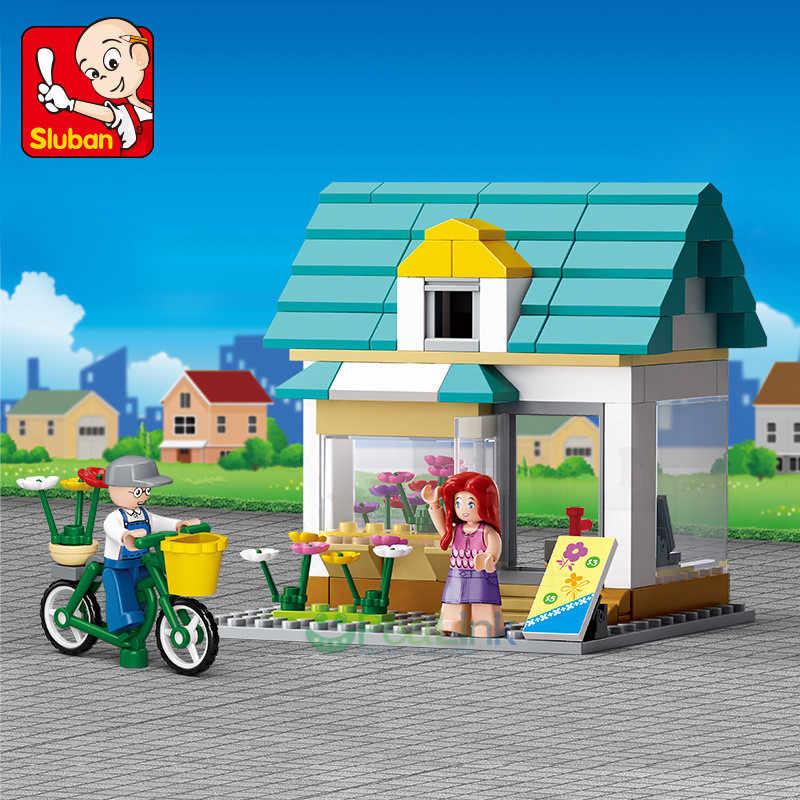 Sluban 149 шт. LegoING город цветочный магазин SimCity большой сцены друзья цифры Строительные блоки Устанавливает Развивающие игрушки для детей