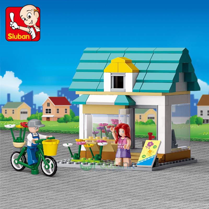 Sluban 149Pcs City Flower Shop SimCity Large Scene LegoINGLs Friends Figures Building Blocks Sets Educational Toys for Children image