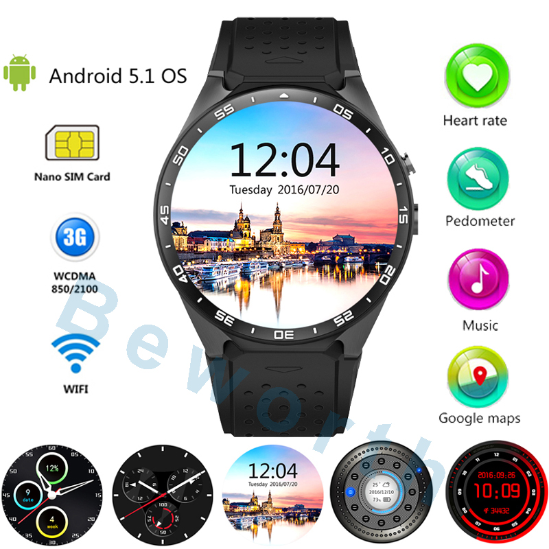 Original KW88 3G Smart Watch Phone Android 5.1 MTK6580 Quad Core Bluetooth Smartwatch GPS Wifi Sports Watches Heart Rate Monitor