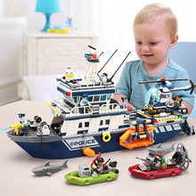 New 869pcs City Police the Patrol Boat Helicopter Model Building Blocks Compatible Legorreta City Children Ship Bricks Toy Gift