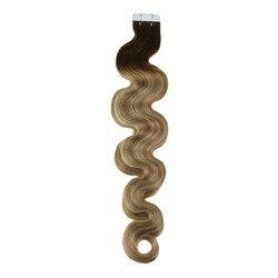 Moresoo Tape in Hair Extensions Remy Human Hair Body Wave Balayage Kleur #3 Fading tot Bruin Hoogtepunt met Blonde #22 50 S 50G