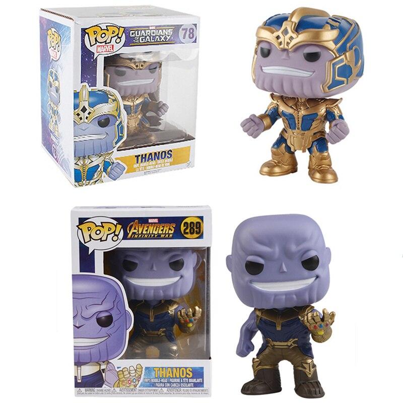 Funko POP La Marvel Avengers 3 Infinity Guerra e guardiani della Galassia Bobble-Head THANOS PVC Action Figure giocattoli per i bambini