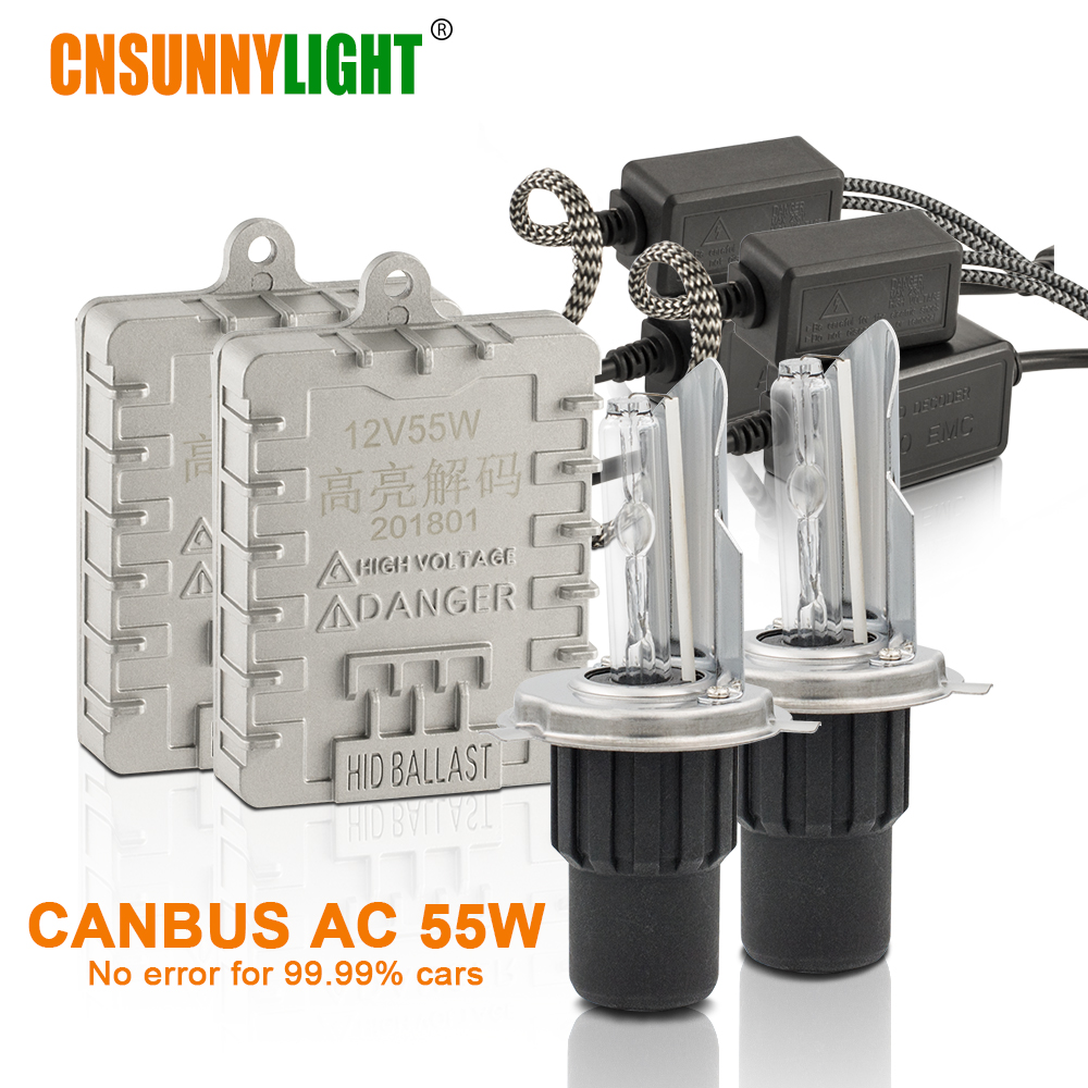 CNSUNNYLIGHT Canbus 55W Car H4 H/L Xenon HID Headlight H4-3 9003 High Brightness 4300K 6000K 8000K No Error Auto Xenon Headlamps блок питания aerocool vx 700 rgb 700w