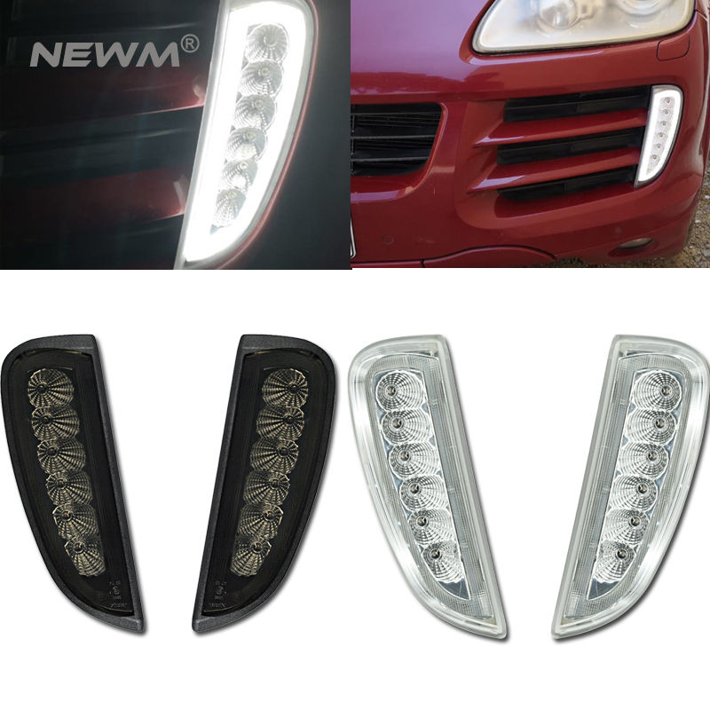 Smoked Clear Lens Switchback White Amber LED Daytime Running Light Turn Signal For 2007 10 Cayenne