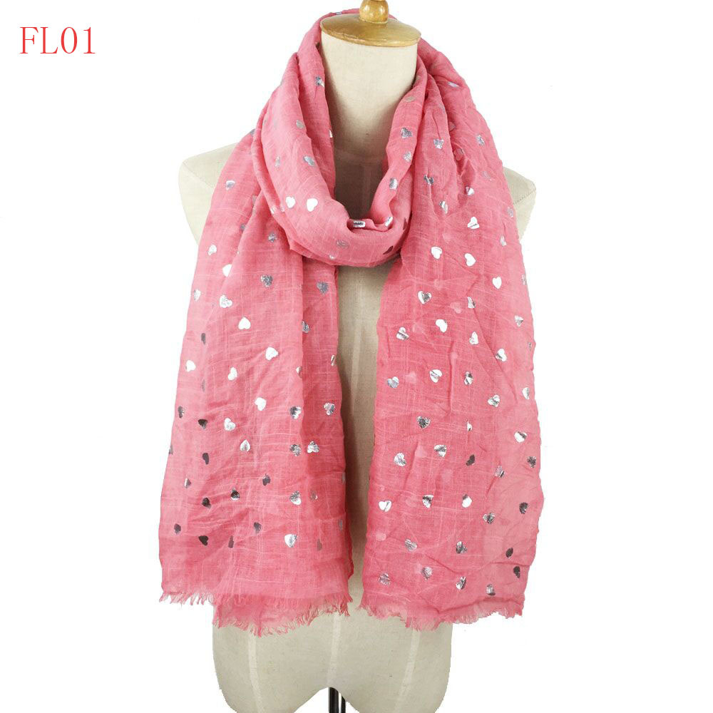 Beautiful High Fashion New Design Heart Foil Scarf Valentine Scarf