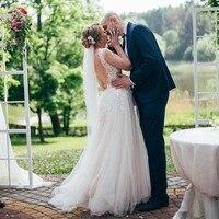 Appliques Lace A line Boho Wedding Dresses Scoop Neck Full Length Bridal Gowns Country Garden Illusion Bodice Vestido De Novia