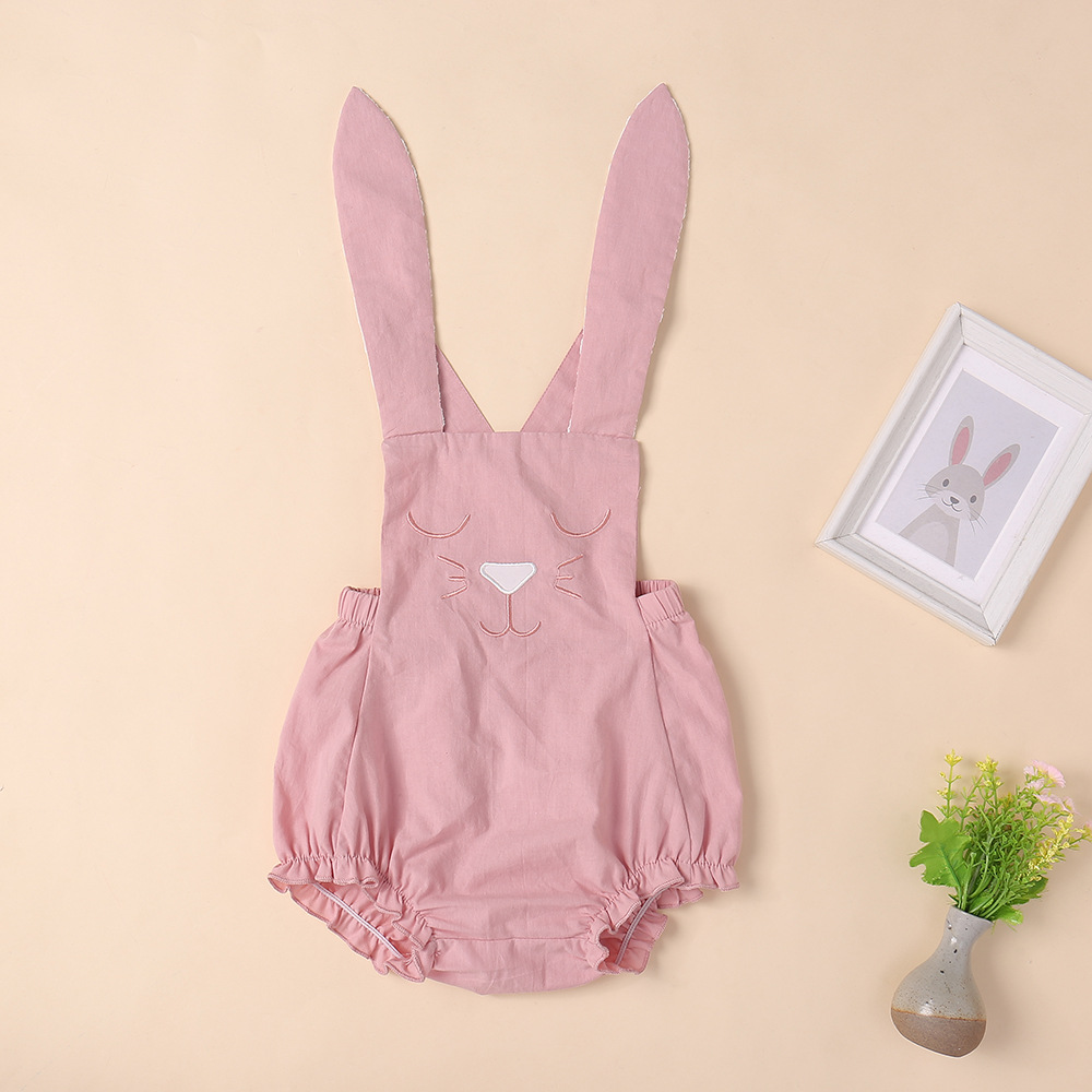 Kaguster Cat romper funny baby girl clothes Cartoon cute pink Sleeveless  Pullover 7M-3Y onesie rompers Bunny pajacyki