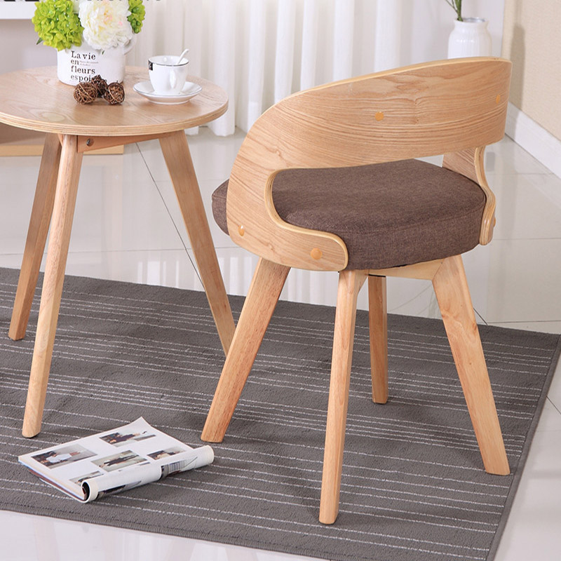 Modern Fabric Solid Wood Rotating Dining Chair Leisure Coffee Shop Restaurant Home Study Bedroom Office Meeting Computer Chair