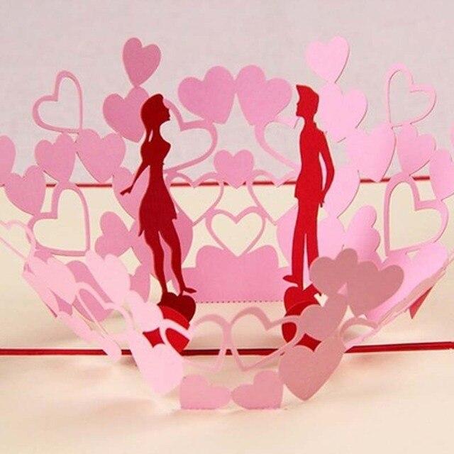 1 Stück Kreative 3D Pop Up Kuss Postkarte Romantische Handgemachte DIY  Valentinstag Hochzeit Einladungskarten Gruß Postkarten