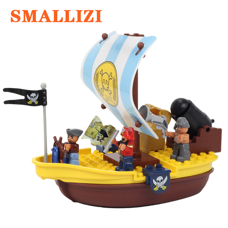 где купить Pirate Series Pirate Ship Model Big Particle Building Blocks Compatible With Duploe Treasure Map Cannon Accessories Bricks Toys дешево