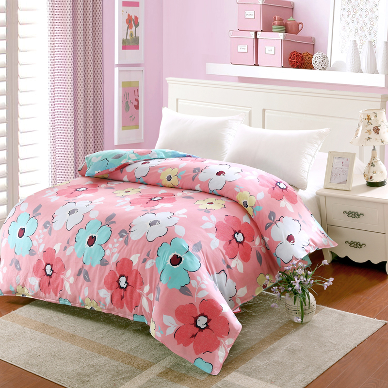 1pc king queen full twin duvet cover 100 cotton quilt cover pink grey flower cover for duvet. Black Bedroom Furniture Sets. Home Design Ideas